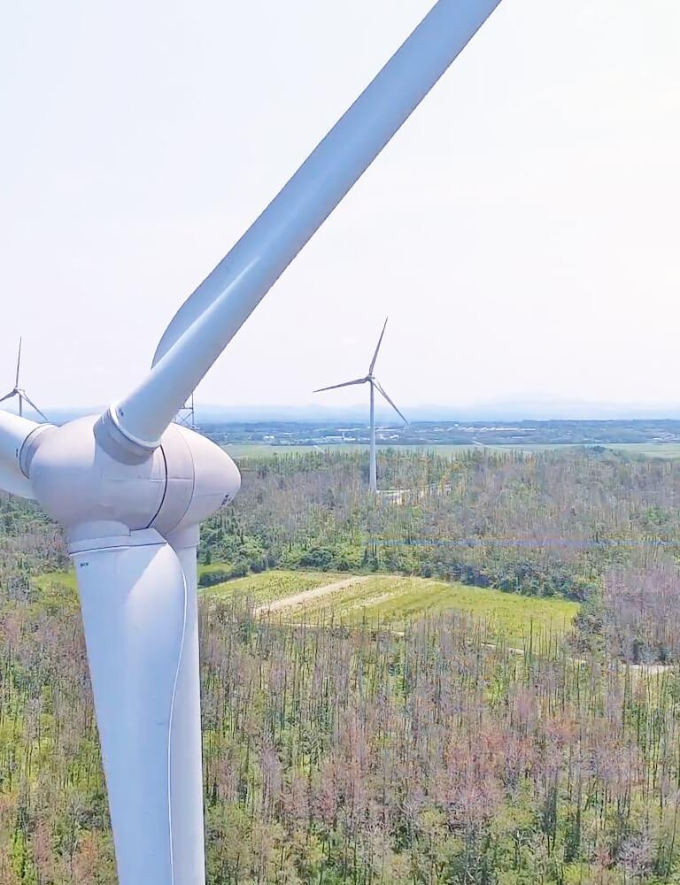 ドローンで撮影した風力発電